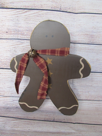 Primitive Wooden Gingerbread Man With Burgundy Scarf And Jingle Bell