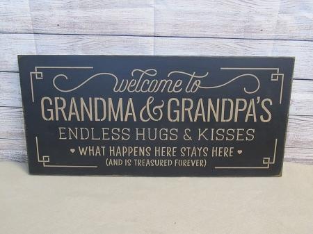 Primitive Welcome To Grandma And Grandpa S Hand Stenciled