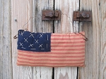 Primitive America Flag Stitchery Hanging Pillow