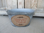 Primitive Harvest Thyme Hand Painted Galvanized Oval Tub