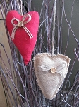 Primitive Heart with Jute Bow and Button Ornie Burlap or Red