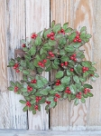 Primitive Christmas Holly and Berry Wreath with Light Glitter