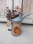 Antique Primitive Hand Painted Fall Autumn Pumpkin Pair Oil Can with Berries