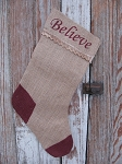 Primitive Burlap Stocking with Believe and Lace Trim