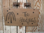 Primitive Personalized Willow and Stars Hand Painted Sign