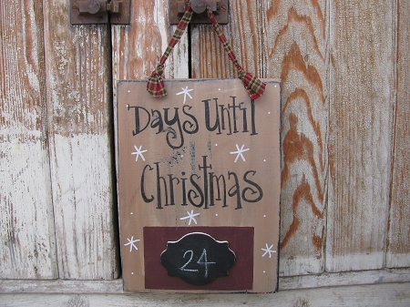 Days Till Christmas Chalkboard.Primitive Hand Painted Days Until Christmas Chalkboard Sign Plaque