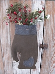 Primitive Large Wool Hand Made Mitten with Pine Greens