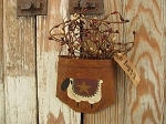 Primitive Sheep with Quilt Rusty Tin Hanging Pocket