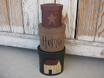 Primitive Saltbox and Star Oval Set of 3 Stack Boxes with Mississippi Mud Color