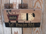Primitive Americana Patriotic Sheep with Flag Cart Hand Painted Sign