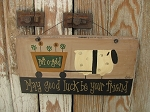 Primitive Sheep with Shamrock Clovers Cart Hand Painted Sign