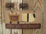 Primitive Sheep Pulling Valentine Heart Cart Hand Painted Sign