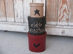 Primitive Hand Painted Red and Black Rooster and Star Oval Set of 3 Stacking Boxes