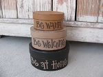 Primitive Hand Painted Be Warm Be Home Small Oval Set of 3 Stacking Boxes
