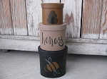 Primitive Bee and Hive Oval Set of 3  Stack Boxes