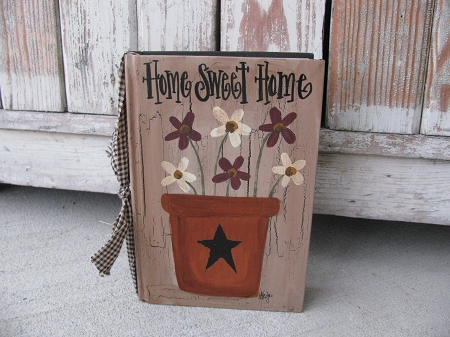 Primitive Flower Pot And Flowers Hand Painted Vintage Book