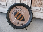 Primitive Hand Painted Bumble Bee Plate