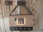 Primitive Hand Painted Americana Sheep with Flag Hanging Vintage Book