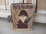 Primitive Hand Painted Vintage Santa Book
