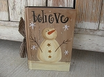 Primitive Believe Snowman Winter Hand Painted Vintage Book