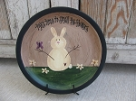 Country Primitive Smell the Flowers Bunny Hand Painted Plate