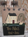Primitive Things Spring Saltbox Willow and Sheep with Flowers Personalized Sign with Stars