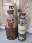Primitive Country Hand Painted Set of 7 Summer Time Stacking Boxes