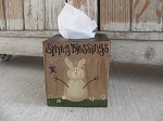 Primitive Bunny and Butterfly with Flowers Hand Painted Tissue Box Cover