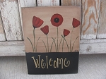 Primitive Personalized Poppy Flower Hand Painted Wooden Sign