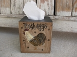 Primitive Country Farm Rooster Hand Painted Tissue Box Cover