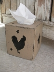 Primitive Country Rooster Silhouette and Star Tissue Box Cover
