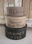 Primitive Gourmet Coffee Hand Painted Oval Set of 3 Stacking Boxes