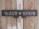 Primitive Washroom Horizontal Hand Stenciled Wooden Sign