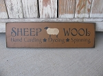 Primitive Sheep Wool Hand Stenciled Wooden Sign