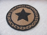 Primitive Farmhouse Star Black and Tan Braided Jute Trivet