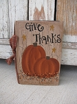 Primitive Give Thanks Pumpkin with Stars Autumn Fall Hand Painted Vintage Book