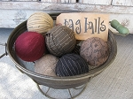 Primitive Colored Hand Wrapped Rag Balls Set of 9