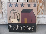 Primitive Burgundy Saltbox with Willow Sheep and Stars Hand Painted Wooden Sign