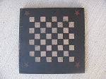 Primitive Black Checker Game Board with Burgundy Stars Hand Stenciled