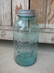 Antique Primitive Vintage Blue Ball Brand 2 Quart or Half Gallon Mason Jar with Old Zinc Lid