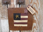 Primitive Country American Flag Hanging Hand Painted Rusty Tin Tile