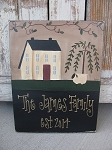 Primitive Saltbox Willow and Sheep Personalized Hand Painted Sign