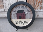 Primitive Hand Painted Winter Welcome Burgundy Saltbox Plate with Option to Personalize