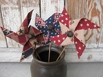 Primitive Country Americana Hand Made Set of 3 Pinwheels with Rusty Bells