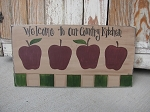 Primitive Country Farm Apples Hand Painted Wooden Sign