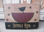 Primitive Country Watermelon with Crow and Stars Hand Painted Wood Sign