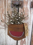 Primitive Country Watermelon Summer Time Hand Painted Rusty Tin Hanging Pocket
