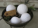 Primitive Country Hand Wrapped Snowball Winter Bowl Fillers Set of 7