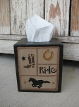Primitive Rustic Country Western Cowboy Horse Sampler Hand Painted Tissue Box Cover