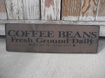Primitive Coffee Beans Hand Stenciled Wooden Sign